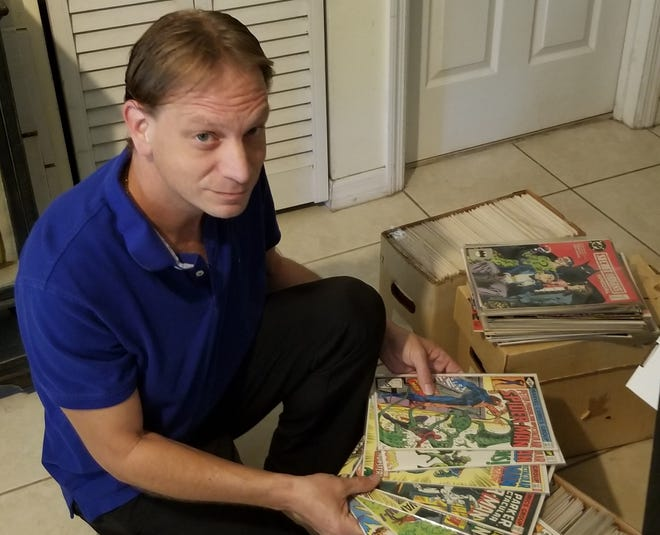 Jason Weaver, of Palm Beach Gardens, was forced to sell his comic book collection to pay rent when it took months to get his unemployment benefits from the state. Collecting comic books was something he did with his dad, who has since died, since he was 13 years old.