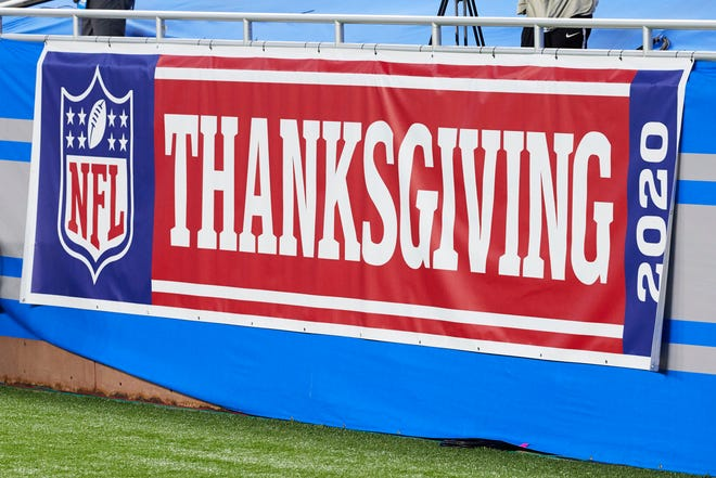 Thanksgiving Day banner is seen during an NFL football game between the Houston Texans and Detroit Lions, Thursday, Nov. 26, 2020, in Detroit. (AP Photo/Rick Osentoski)
