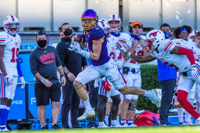 Blake Proehl had six catches for 152 yards and two touchdowns in a 52-38 victory against SMU on Saturday at Dowdy-Ficklen Stadium.