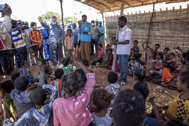 Filippo Grandi, U.N. High Commissioner for Refugees, visits Umm Rakouba refugee camp sheltering people who fled the conflict Saturday in Ethiopia's Tigray region in Qadarif, eastern Sudan.
