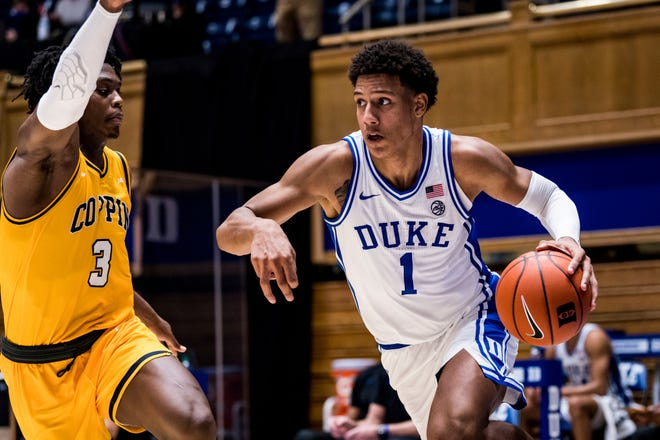 Freshman Jalen Johnson finished with 19 points and 19 rebounds during Duke's 81-71 win over Coppin State Saturday at Cameron Indoor Stadium.
