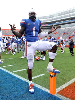 Florida's Kadarius Toney gestures after the Gators beat the Kentucky Wildcats at Ben Hill Griffin Stadium.
