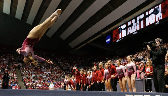 Shea Mahoney completes a tumbling run as Alabama gymnasts defeated Kentucky Friday, Feb. 28, 2020, in Coleman Coliseum. [Staff Photo/Gary Cosby Jr.]