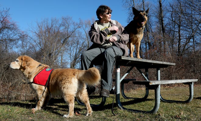 Karen Irwin, 56 of Plymouth with her dogs, Casey, 9, a Golden Retriever pictured at left, and Gracie, 6, a German shepherd, at Hines Park in Northville. Irwin credits the group Paw Print Pet Loss Support Group for helping her work through the anger and grief after the loss of her dog, Scout, was hit and killed on 5 Mile Road in front of her house in 2012.