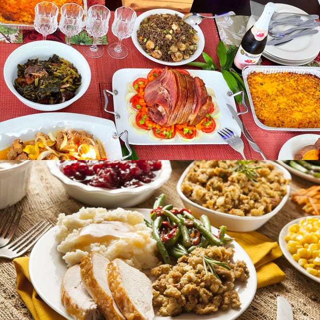 The top image features a few traditional Caribbean dishes made on Thanksgiving whereas, the bottom image features a traditional Southern Thanksgiving meal.
