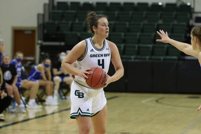 UWGB guard Caitlyn Hibner, pictured against Drake earlier this season, had a team-high 14 points in a win at Northern Kentucky on Friday.