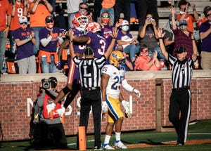 Clemson wide receiver E.J. Williams(39) celebrates his first touchdown of the game with Clemson wide receiver Amari Rodgers(3) during the first quarter of the game against Pittsburgh, Nov 28, 2020; Clemson, South Carolina, USA;  at Memorial Stadium. Mandatory Credit: Ken Ruinard-USA TODAY Sports