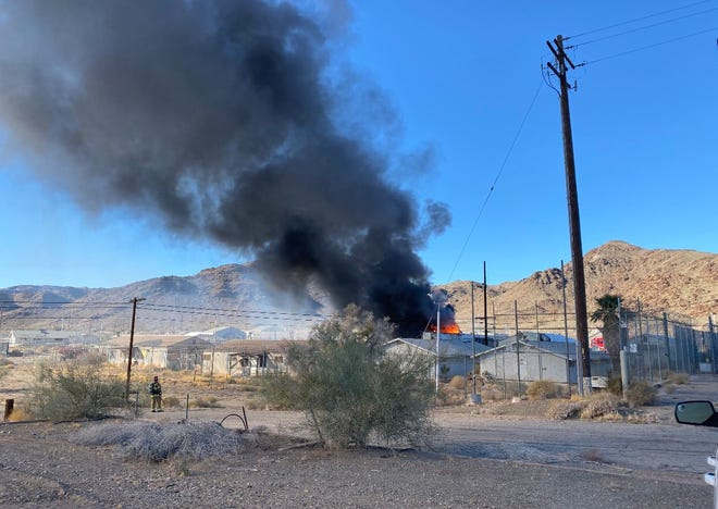 A fire broke out at the former Eagle Mountain Prison near Desert Center on Nov. 28, 2020.