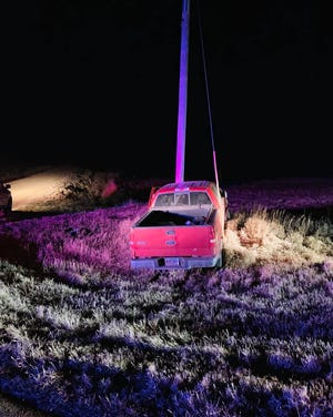 A red Ford pickup crashed into a telephone pole after taking authorities on a high speed chase in Lincoln County.