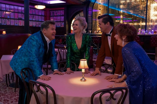 """James Corden (far left), Nicole Kidman, Andrew Rannells and Meryl Streep play Broadway actors who head to Indiana to help their PR standing in """"The Prom."""""""