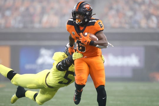 Jermar Jefferson rushed for 226 yards, the most in the rivalry between Oregon and OSU.