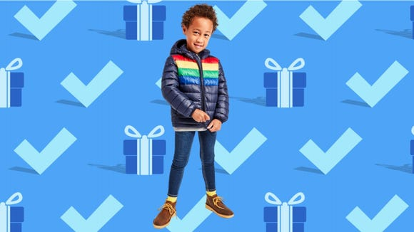 Black Friday 2020: Puffer jacket in rainbow stripe from Primary.