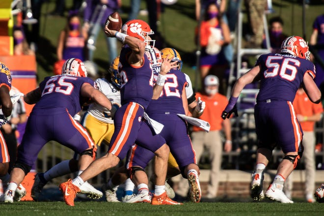 Clemson quarterback Trevor Lawrence makes a pass in the first half of Saturday's game against Pitt.