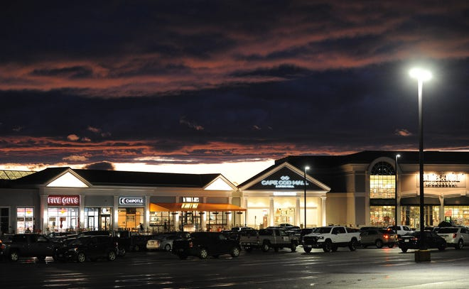 HYANNIS -- 11/23/20 -- The Cape Cod Mall lights up as the Monday sun sets.