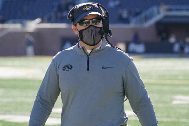 Missouri head football coach Eli Drinkwitz looks on from the sidelines during a game against Vanderbilt on Saturday at Faurot Field.