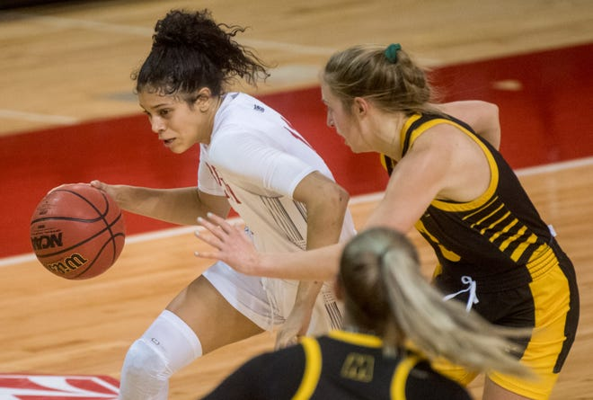 Bradley's Lasha Petree moves the ball against Milwaukee in the first half Saturday, Nov. 28, 2020 at Renaissance Coliseum. The Braves fell to the Milwaukee Panthers 65-60.
