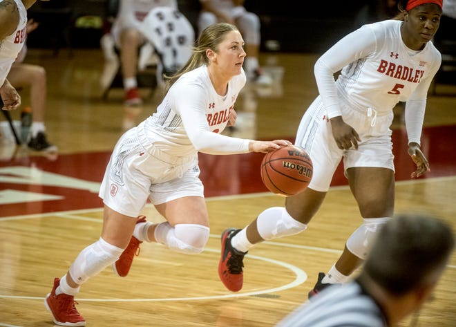 Bradley senior Gabi Haack moves the ball against Milwaukee in the first half Saturday, Nov. 28, 2020 at Renaissance Coliseum. The Braves fell to the Milwaukee Panthers 65-60.
