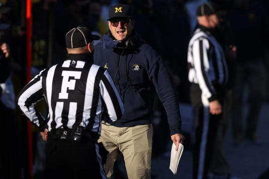 Michigan Wolverine head coach Jim Harbow reacted in the second half as he played for the Penn State Nittany Lions at Michigan Stadium on November 28, 2020 in Ann Arbor, Michigan.