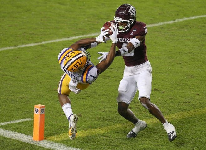 LSU wide receiver Kayshon Boutte apparently caught a touchdown pass against Texas A&M defensive back Myles Jones in the second quarter Saturday at Kyle Field in College Station, Texas, to cut the Aggies' lead to 10-6, but officials ruled on replay that Boutte lost control of the ball for an incomplete pass. The Tigers did not score until 38 seconds remained in the game and lost 20-7