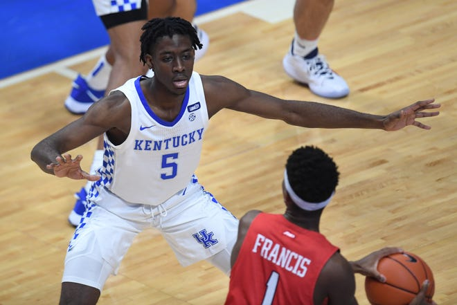 Terrence Clarke defends the ball during Kentucky's game against Richmond on Nov. 29, 2020.