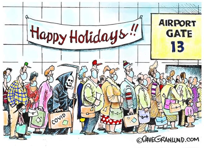 Holiday crowd at airport.