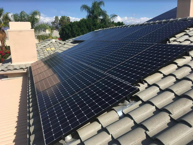 Renova Energy solar panels cover a roof in the Coachella Valley.