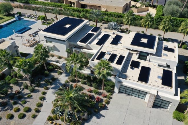Renova Energy solar panels cover a large home in the Coachella Valley.