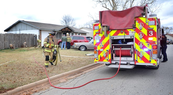Wichita Falls firefighters worked to control a house fire Sunday morning at a home on Devonshire Drive.