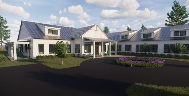 A rendering of the 19,000-square-foot Caroline's Cottage hospice facility planned for S.C.170 next to John Paul II Catholic school.
