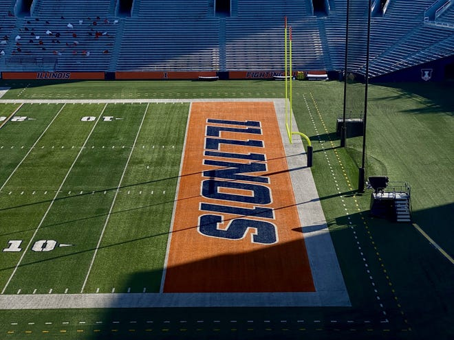 An empty Memorial Stadium in Champaign, Ill. would have been the venue for Ohio State's football game against the Illinois Fighting Illini on Sat. Nov. 28, 2020. A COVID-19 outbreak in the Buckeyes football team forced the cancellation of the game.