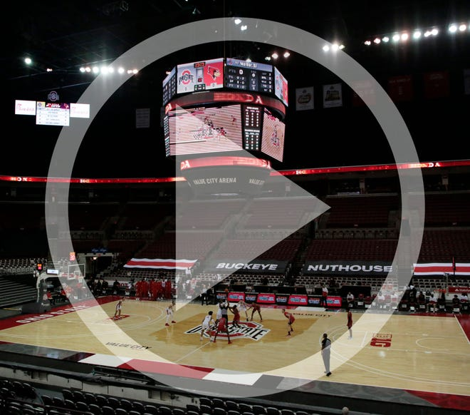 In this file photo, The Ohio State Buckeyes and the Illinois State Redbirds tip-off in an empty Value City Arena during a NCAA Division I men's basketball game on Wednesday, Nov. 25, 2020 in Columbus, Ohio.