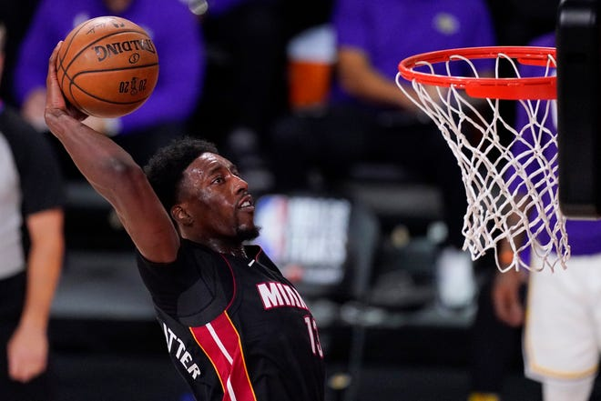 Miami Heat's Bam Adebayo dunks in Game 6 of the NBA Finals in October against the Los Angeles Lakers in Lake Buena Vista, Fla.