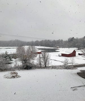 Snow falls in Mount Vernon, Ohio, on Monday, Nov. 30th. The National Weather Service is predicting Central Ohio will see its first snow accumulation, about 1 to 2 inches, over the course of the day.