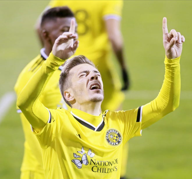 Crew winger Pedro Santos celebrates his goal against Nashville SC on Sunday, his second goal in two playoff games.