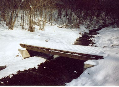 A foot bridge over a stream on Trail 4 of the Phillips Creek Trail System for hikers and skiers with by-pass for horses.