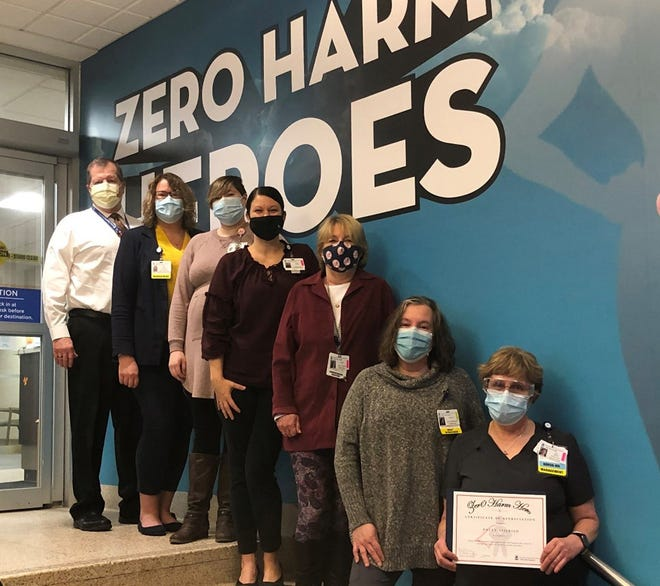 From left are Little Falls Hospital President and CEO Michael Ogden, April Smida, Stephanie Todd, Alecia Seeley, Joanne Yette, Dorothy Connors, and Patty Seifried, recipient of the Zero Harm Hero Award.