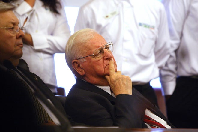 Iowa State Sen. Gene Fraise, D-Fort Madison, listens in the Iowa State Capitol Feb. 7, 2012 in Des Moines.