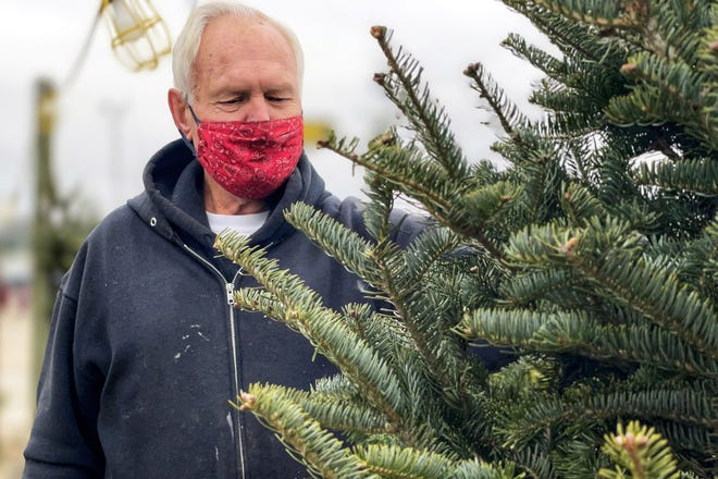 Owner Bill McVey looks over his remaining selection of Christmas trees at The Greenhouse, 963 E. Main St. on Nov. 30, 2020.
