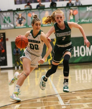 Nordonia guard Hallie Majoros drives to the basket during a playoff game against Strongsville last season.