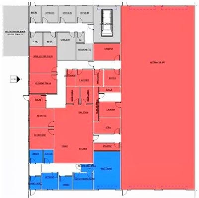 This preliminary sketch of the proposed Northfield Center Township Hall/safety building was accepted by township trustees Nov. 23. The red shows fire department space, the blue is quarters for the Summit County Sheriff's Department and the gray is for township administrative offices.