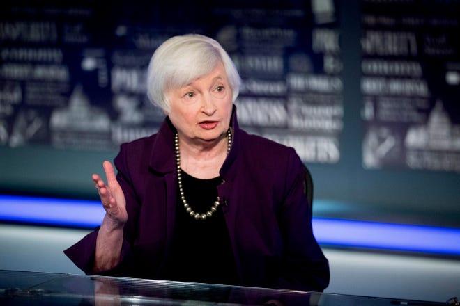 Former Fed Chair Janet Yellen speaks with FOX Business Network guest anchor Jon Hilsenrath in August 2019 in the Fox Washington bureau in Washington.