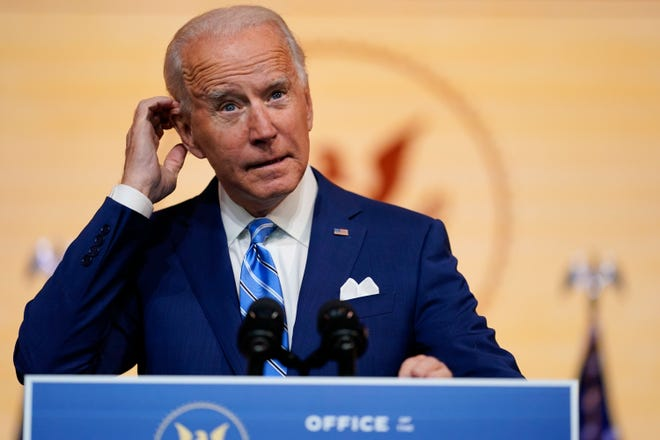 President-elect Joe Biden speaks last Wednesday during a press conference in Wilmington, Del.