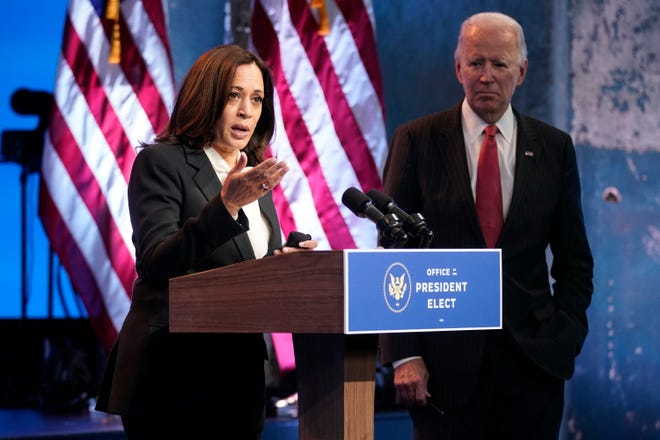Vice President-elect Kamala Harris, accompanied by President-elect Joe Biden, speaks at The Queen theater Nov. 19 in Wilmington, Del. Biden and Harris will begin receiving the nation's most sensitive secrets Monday as they prepare to assume office on Jan 20.