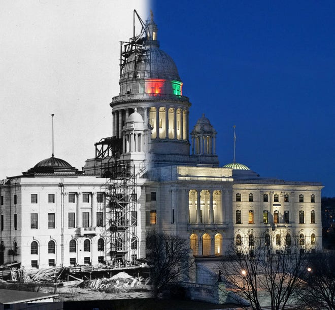 """A photo of the Rhode Island State House under construction in 1899 is combined with a 2019 photo of the capitol building in the evening, part of the """"Then and Now"""" series by photographer Sandor Bodo."""