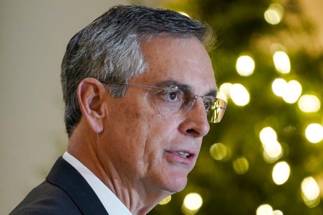 Georgia Secretary of State Brad Raffensperger speaks during a news conference Monday in Atlanta. [AP / Brynn Anderson]