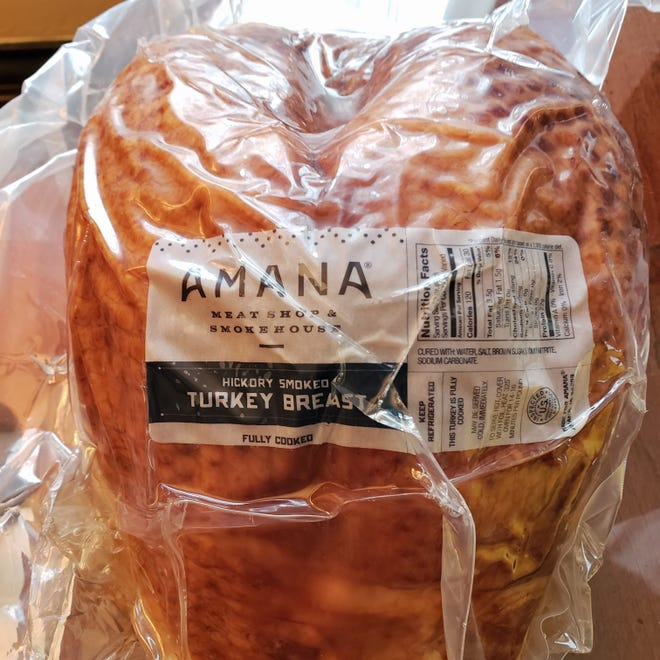 The turkey comes secured in shrink-wrapped plastic from Amana Meat House and Smokehouse in Iowa.