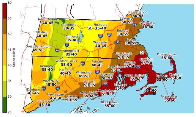 Maximum wind gust forecast through Monday night.
