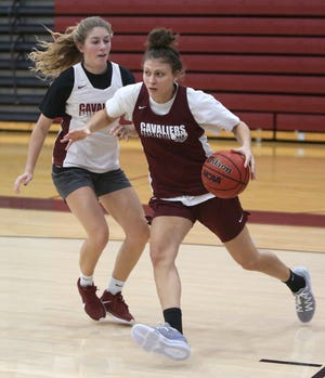 Mayci Sales (right) drives around Kayla Gibson during a preseason practice at Walsh.