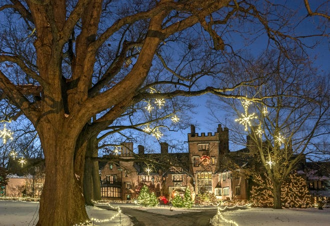 STAN HYWET HOLIDAY. Deck the Halls has returned to Stan Hywet Hall & Gardens in Akron, with hours of  5 to 8 p.m. Dec. 3-6, 10-23 and 26-30. Visitors may enjoy limited-capacity, one-way tours of 14 holiday-decorated rooms on the the first floor of the manor house. The gardens will be decorated with 1 million holiday lights, the Great Garden has a light show choreographed to holiday music. Poinsettias will be available in the greenhouse, refreshments will be available and Molly's Shop will be open for holiday shopping. To ensure social distancing, tickets must be purchased in advance at StanHywet.org and  330-315-3287. Tickets are $22 adult and $9 ages 6 to 17 on Friday and Saturday, $18 and $7 Thursday and Sunday. Children 5 and younger are free. Stan Hywet is at 714 North Portage Path.