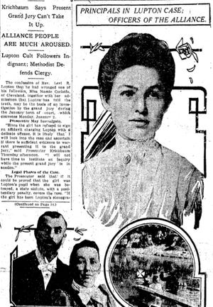Levi Lupton, lower left, with his wife, Laura, was a charismatic Alliance preacher whose career ended  in 1910 after he fathered a child with his secretary, Mamie Corlett, right.